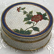 REDUCED Chinese cloisonne round box made by LAO TIAN LI circa 1911-1930