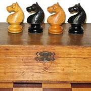 "SALE French chess set carved and turned boxwood and rosewood ""Regence"" pattern Chess Set"