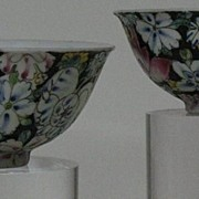 SALE Chinese porcelain hand painted pair of drinking cups in famille-rose millefleurs pattern