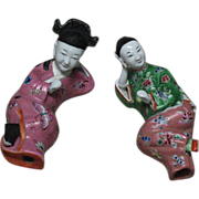 Chinese porcelain pair wall incense stick holders