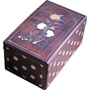 Chinese zitan wood box MOP silver-gilt inlay sign 18/19C