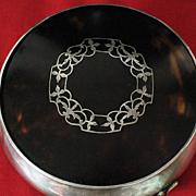 Edwardian sterling silver & tortoise shell  jewelry box