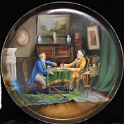 """REDUCED French chess LIMOGES porcelain charger with chess players 15.7"""""""
