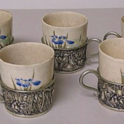 SALE Japanese satsuma Kyoto ware set of 5 ceramic cups fitted into sterling silver cup ...