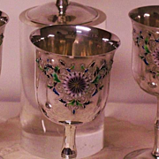 Japanese Imperial 950 silver goblets set of 6 with multi-color enamel Kiku Mon  sign MARUYOSHI