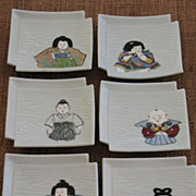 REDUCED Japanese porcelain set of 6 trays with isho ningyo (costume doll) KIYOMIZU KILN
