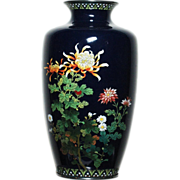 SALE Japanese cloisonne vase Ando silver wire on midnight blue ground