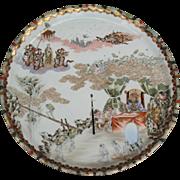 Japanese studio porcelain charger depicting Emma-O Buddhist underworld