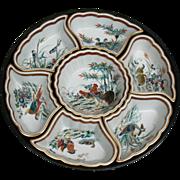 Japanese porcelain 7 trays set on revolving wood holder Kutani