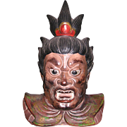 Japanese terracotta bust of NIO  temple guardian called Agyo