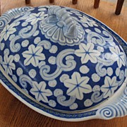 REDUCED Japanese Arita Imari porcelain tureen with underglaze blue design 1850 blue mark