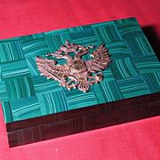 Austria-Hungarian malachite  black onyx box 12K gold double-headed eagle circa 1900