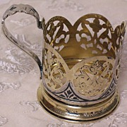 Russian 875 silver cup holder niello gilded Moscow circa 1960