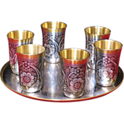 Russian 875 silver gilded nielo set of 6 cups and round tray circa 1965