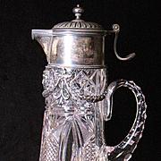 Russian Imperial crystal and 84 silver claret pitcher hallmarked circa 1908