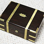 REDUCED Walnut document/papers box brass bound Hong Kong China