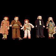 Porcelain Vintage Dollhouse Family of Five
