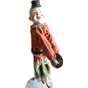 Antique Mechanical Clapping Clown Doll