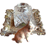 Pig Figural Cast Metal Inkwell Stand