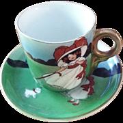 Royal Bayreuth Girl with Dog Cup & Saucer