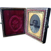 Miniature Ambrotype Photograph of Little Girl in Case
