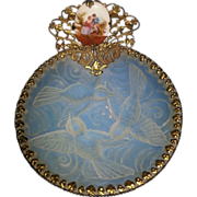 Glass Tray with Porcelain Courting Scene Ormolu Decor