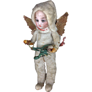 SOLD German Spun Cotton Bisque Head Doll Christmas Ornament