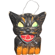 SOLD Paper Mache German Black Cat Halloween Lantern