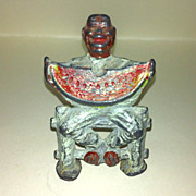 Vintage Manoil Lead Toy  Black Man Sitting Man Seated On Fence Eating Watermelon