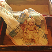 Bisque Head Doll with Trunk and Doll Quilt