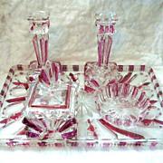 Czech Cut Glass Deco Dresser Vanity Set