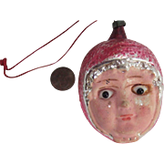 Antique Glass Eyed Little Red Ridinghood Mercury Glass Christmas Ornament