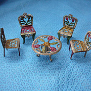 Miniature Dollhouse Dining Table & Chairs