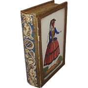 """Antique Mourning Memento Box Reverse Painting on Glass """"Forget Me Not"""" Miniature Boo"""