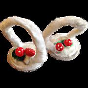 Pair of Chenille Mushroom Basket Ornaments