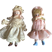 Pair of All Bisque German Dollhouse Size Dolls