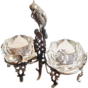 Ornate Parrot Figural Double Salts