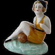 Seated Bathing Beauty with Bud Vase