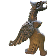 19th Century Gothic Wooden Winged Gargoyle Figure