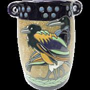 Art Nouveau Jugendstil Teplitz RStK Austrian Amphora Ceramic Handled Vase With Exotic Birds