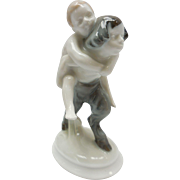 c. 1920 Selb-Bavaria German Rosenthal Faun Carrying Nude Child Porcelain Figurine by A. Caasma