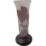 Signed Miniature Galle Purple French Cameo Glass Vase