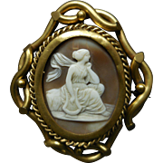 19th Century Victorian Rotating Shell Cameo Gold Filled Filigree Brooch or Necklace
