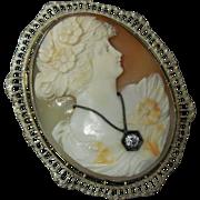 Early 20th C. Shell Cameo 14 K White Gold Filigree Brooch Pin & Diamond Pendant