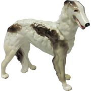Goldscheider USA Streaked White Borzoi Dog Porcelain Figurine