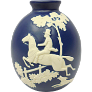 "Hand Marked Blue & White Weller Fox ""Chase"" Ceramic Vase"