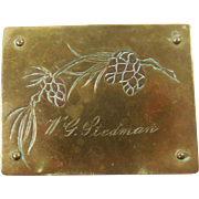 Arts & Crafts Movement German Engraved Pinecone Motif Brass Stamp Box