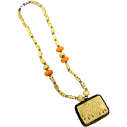 Vintage White & Orange Carved Bone Chain of Beads with Two Elephants Pendant Long 21 1/2""