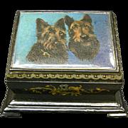 Victorian Paper Mache Stationary box Scottish Terriers