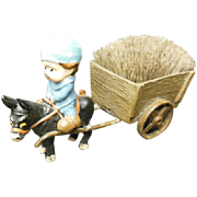 Victorian Figural Pen Wipe - Lad with Donkey Cart